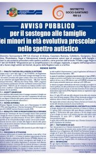 AVVISO PUBBLICO per il sostegno alle famiglie dei minori in età evolutiva prescolare nello spettro autistico