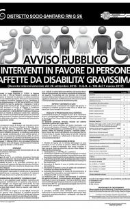 INTERVENTI IN FAVORE DI PERSONE AFFETTE DA DISABILITA' GRAVISSIMA AVVISO PUBBLICO